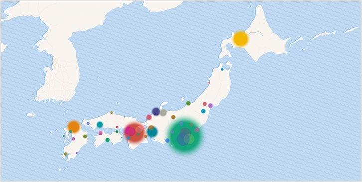 地図でみる都道府県別の累計感染者数