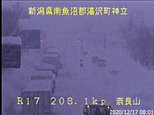 多くのトラックが動けなくなった国道17号(17日、新潟県湯沢町で)=国土交通省提供